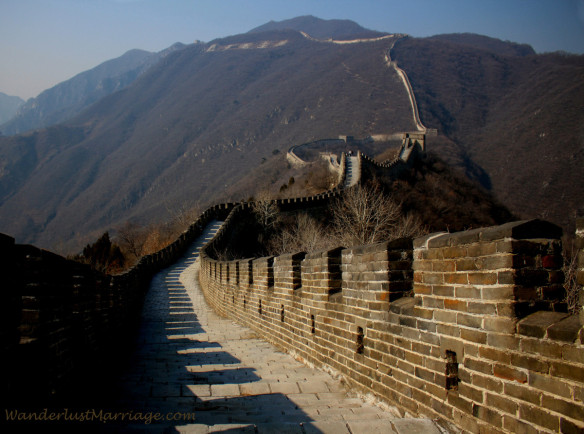 The Great Wall of China at winter time, there are almost no tourists, Mutianyu section