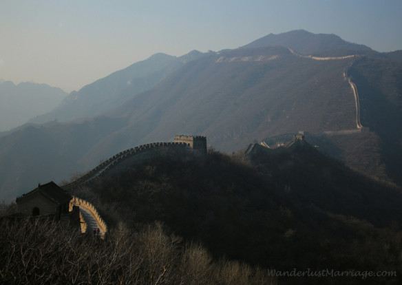 The Great Wall of China twisting into the mountains in the Mutianyu section