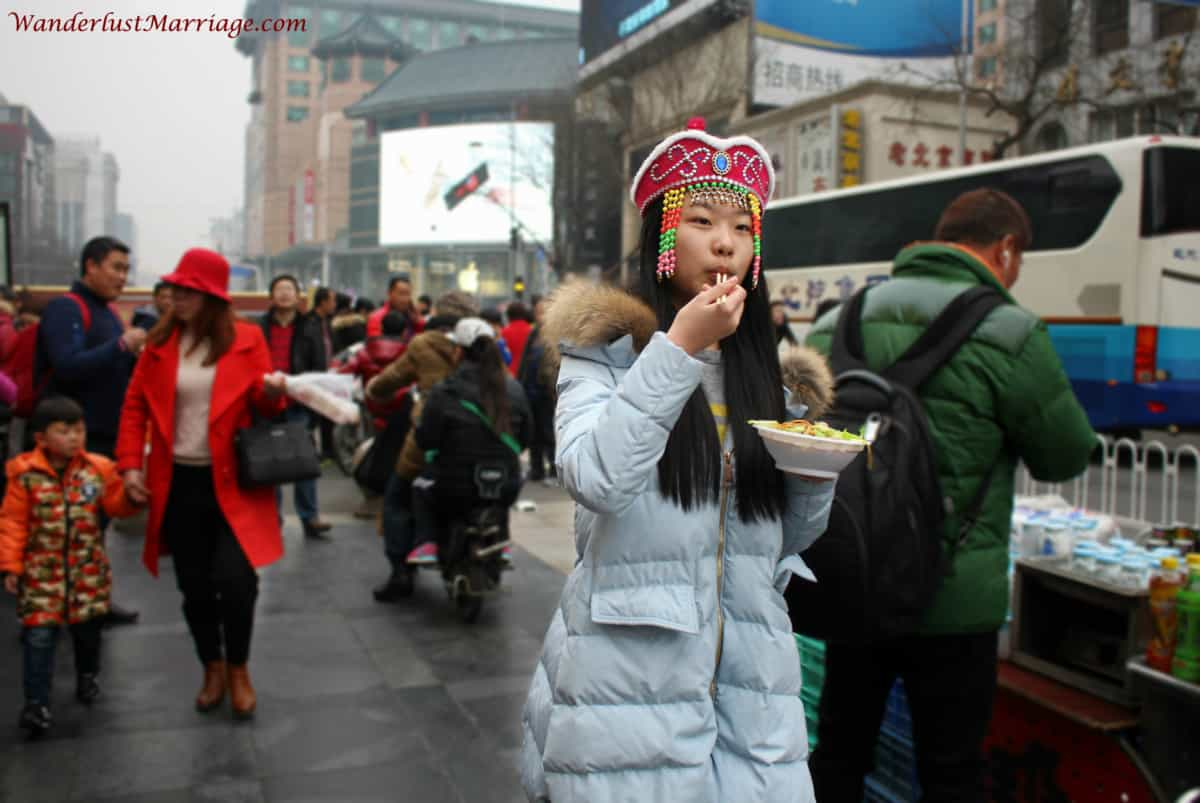 Girl Eating noodles, People of Beijing