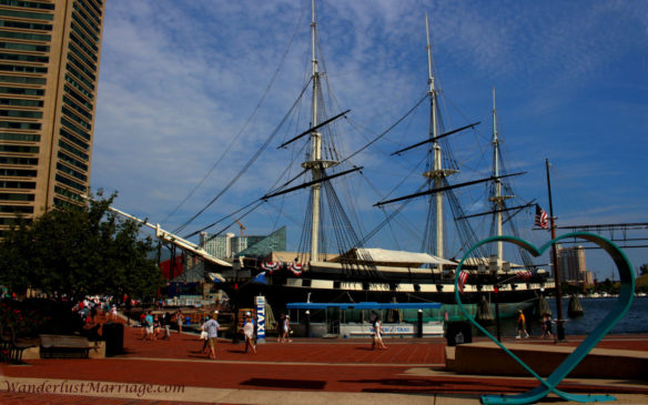 USS Constellation in Baltimore Inner Harbor