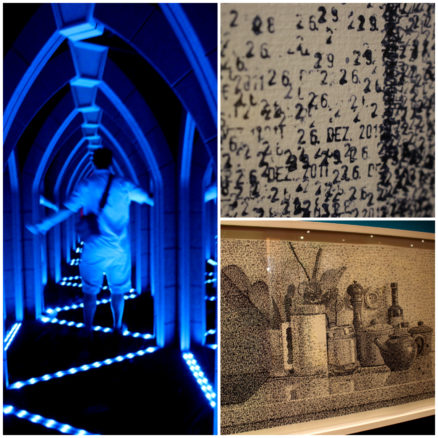 Maze of mirrors & art from a date stamp
