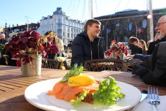 Smoked salmon lunch in Nyhavn, Copenhagen