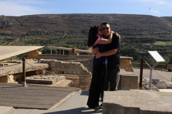 Alex and Bell and the Knossos ruins in the background
