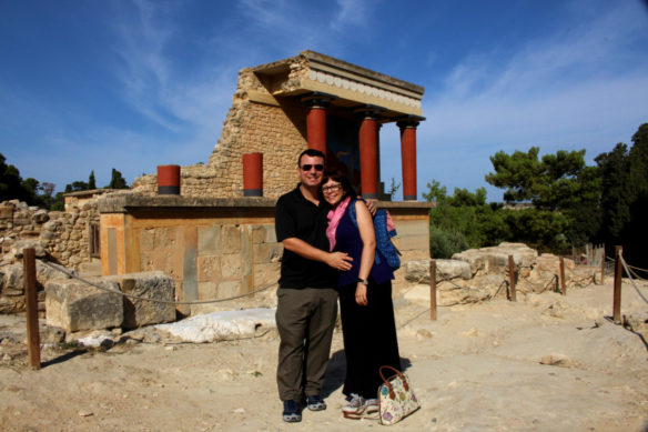 Alex and Bell in front of ruins in Knossos, Crete