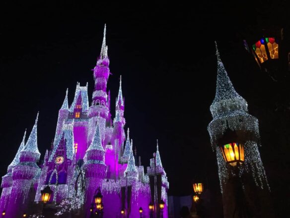 Cinderella's Castle at Christmas, Orlando. Tips for Visiting Disney World Over the Holidays