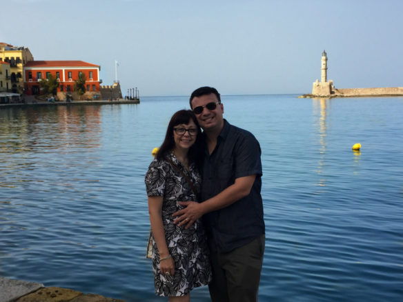 Alex & Bell in front of Chania harbor
