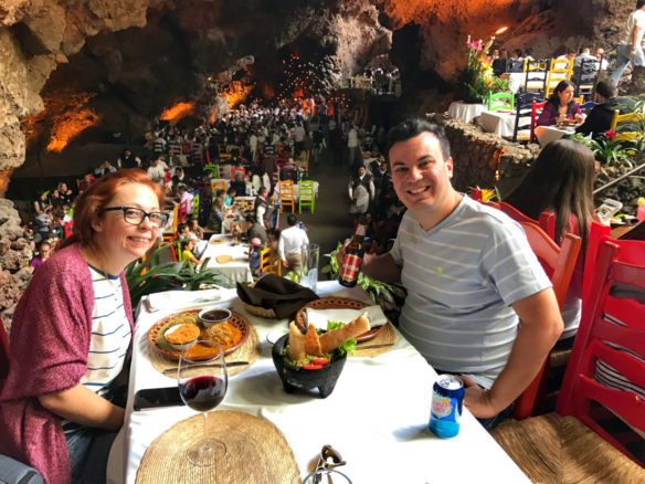 Alex and Bell at lunch in the cave restaurant