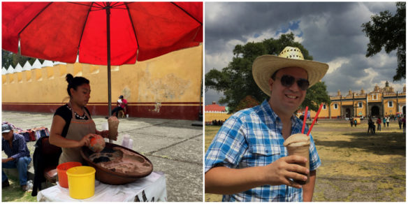 Alex with a traditional chocolate drink in Mexico