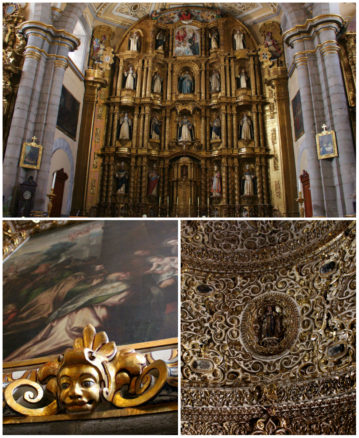 Ornate gold decoration in a church in Puebla