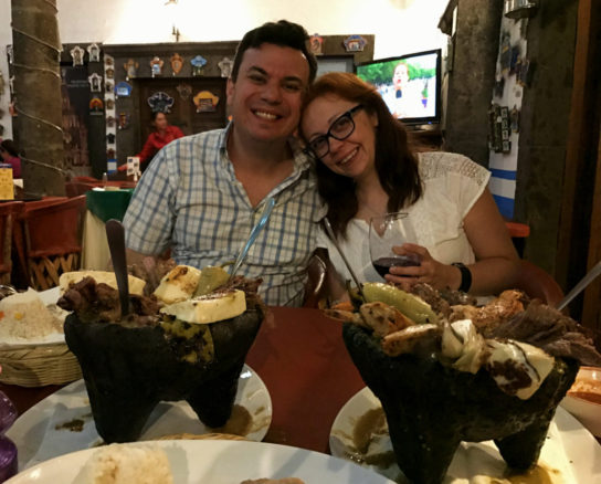 Alex & Bell with Molcajete a volcanic bowl