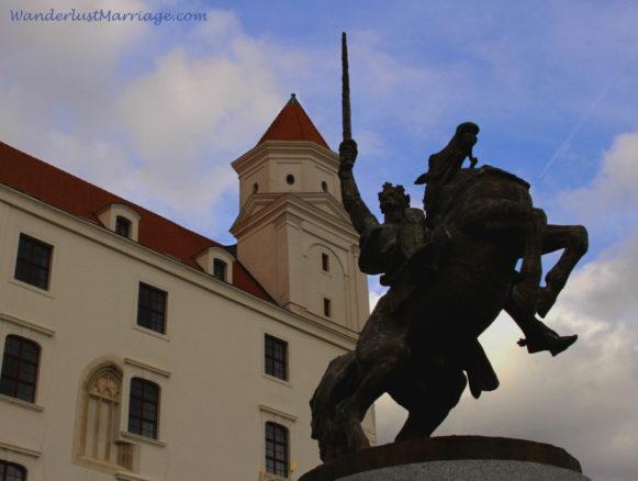 Bratislava Castle, statue of a man on a horse