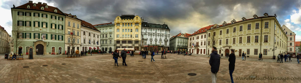 Bratislava town square with colorful buildings