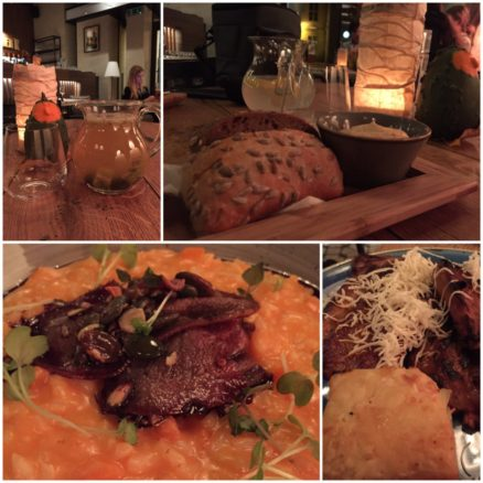 Collage of food from the restaurant Flamender, including risotto and fresh bread