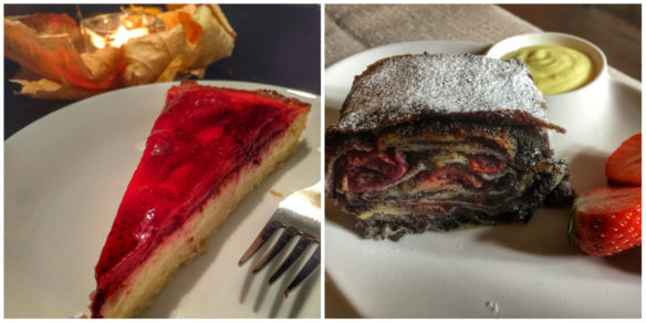 Collage of strudel and cheese cake