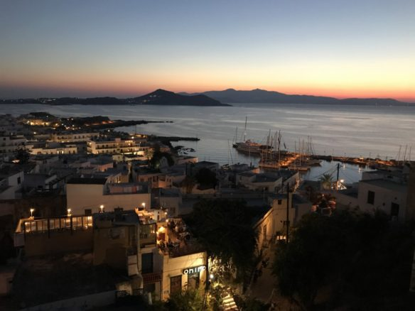 Other nearby Cyclades islands at dusk