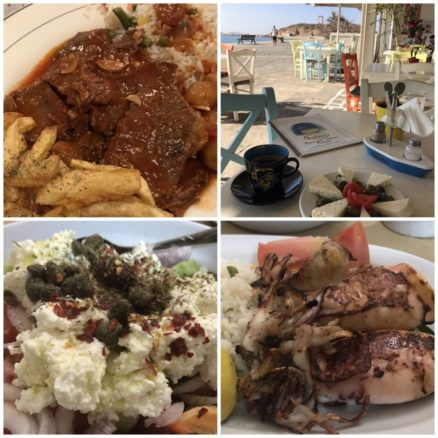 Collage of Greek foods on Naxos including squid, salad and cheese