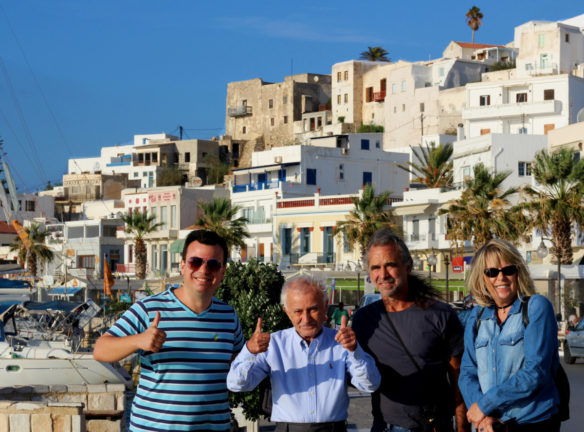 Family picture with Naxos houses in the background