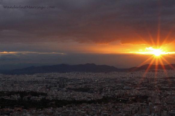 Orizontes restaurant at sunset, Athens Mount Lycabettus