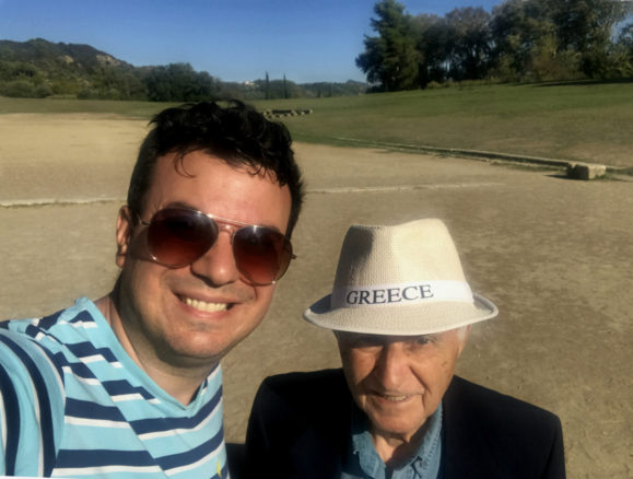 A selfie of Alex and his dad in Olympia