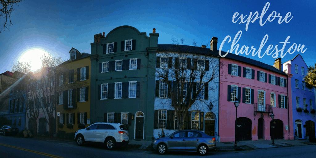 Colorful buildings along Rainbow Row in Charleston, South Carolina.