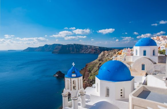 Orthodox church and sea on the island of Santorini