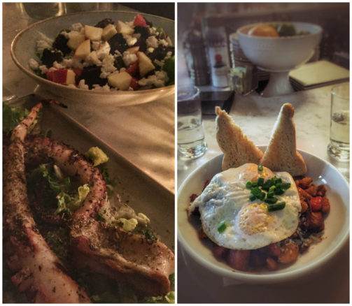 grilled octopus, Greek salad, and fried eggs over potatoes for brunch at Stella's in Charleston, South Carolina