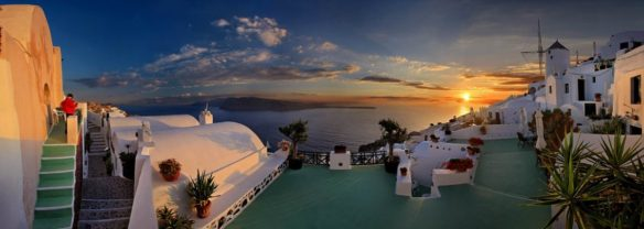 Panorama view of houses and sea on Santorini