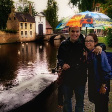 Brugge, Belgium, Alex and Bell and some swans in the rain
