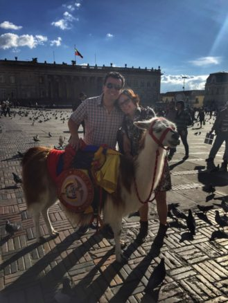 Alex & Bell with a Llama in Bogota's Bolivar Square