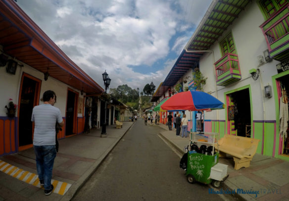 Colorful shopping street with stands in Salento, Colombia