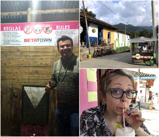 Collage of around Selento, Alex at Betatown, Bell drinking a coconut drink and a stand selling drinks