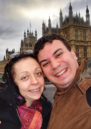 London, England selfie of Alex and Bell out the front of Parliament