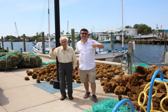 Alex and his dad with the sponge haul from Tarpon Springs