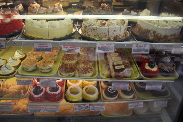 A huge selection of Greek cakes and pasteries at Hellas Bakery in Tarpon Springs, Florida