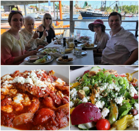 Collage of family and friends delicious lunch at Dimitris On The Water, and food