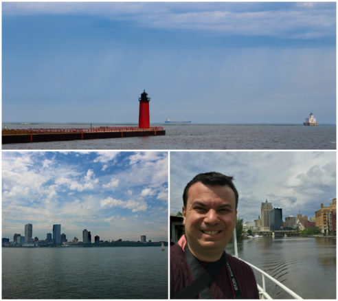 photos on the MKE Boat Line on Lake Michigan including the Milwaukee skyline and a red lighthouse