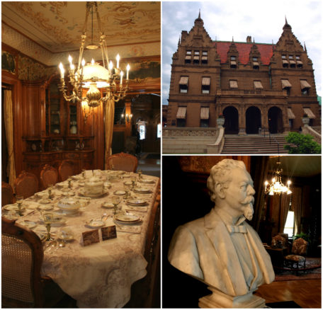 collage of photos on the interior and exterior of the Pabst Mansion in Milwaukee, Wisconsin.