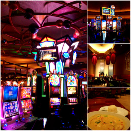 photos of slot machines and Thai food inside the Potawatomi Casino in Milwaukee, Wisconsin