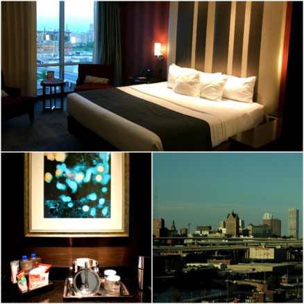 Collage of photos of the room and view at Potawatomi Hotel and Casino in Milwaukee, Wisconsin
