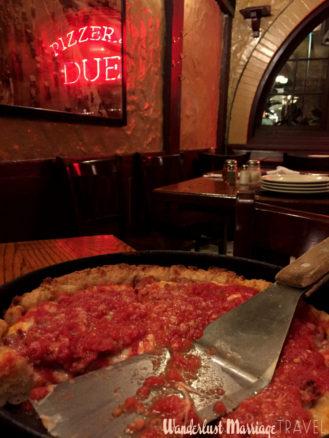 Enjoying Chicago deep dish pizza at Due