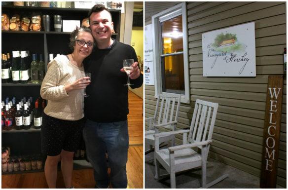 Alex and Bell of Wanderlust Marriage Travel wine tasting at the Vineyard andBreweryat Hershey, Pennsylvania