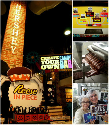 a collage of experience at Hershey's Chocolate World including the Candy Bar Making Experience