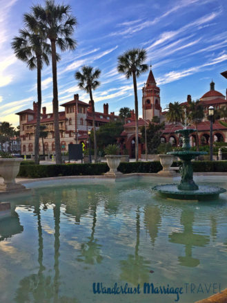 a fountain and palm trees at Flagler College in Saint Augustine, Florida
