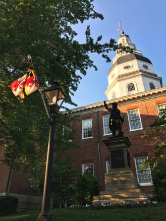 Maryland State House in Annapolis, Maryland, the oldest U.S. state capitol in continuous legislative use, dating to 1772.