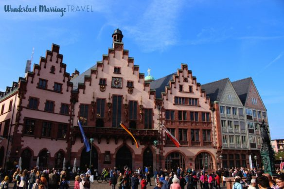 town square on a sunny day in Romerberg, Frankfurt