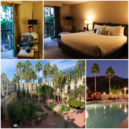 Collage of Mission Palms hotel room, pool and courtyard in Tempe