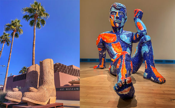 Colorful sculpture of man at Tempe art museum