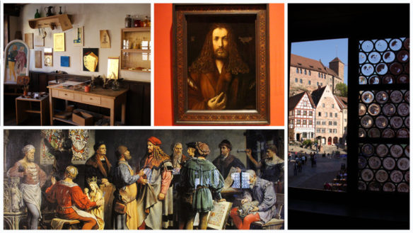 A collage of images from inside the Albrect Durer House in Nuremberg, Germany including Durer portraits and his studio