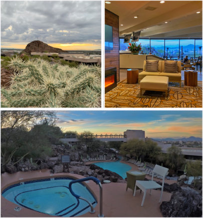 collage of the hotel foyer, pool and cactus
