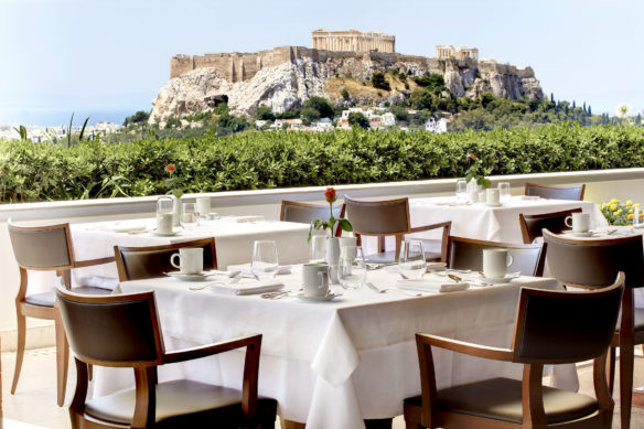 view of the Acropolis from the rooftop terrace of the Grand Bretagne Hotel in Athens